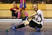 Fabian Pehlke lachend / Einzel / Freisteller /    <br /> / Sport / Hockey Hnhockey / World Championships Weltmeisterschaft  /  2017/2018 / 07.02.2018 / GER BRGermany vs. Kasachstan  *** Local Caption *** © pixathlon<br /> Contact: +49-40-22 63 02 60 , info@pixathlon.de