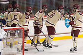 JD Dudek (BC - 15), Casey Fitzgerald (BC - 5), Scott Savage (BC - 2), Matthew Gaudreau (BC - 21), Colin White (BC - 18), Chris Calnan (BC - 11) - The Boston College Eagles defeated the University of Notre Dame Fighting Irish 6-4 (EN) on Saturday, January 28, 2017, at Kelley Rink in Conte Forum in Chestnut Hill, Massachusetts.The Boston College Eagles defeated the University of Notre Dame Fighting Irish 6-4 (EN) on Saturday, January 28, 2017, at Kelley Rink in Conte Forum in Chestnut Hill, Massachusetts.