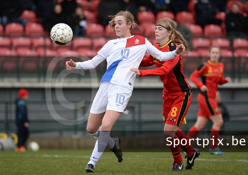 20140209 - TUBIZE , BELGIUM : Dutch Jill Roord (l) pictured with Belgian Jessie Taets (r) during a friendly soccer match between the Under 19 ( U19) women teams of Belgium and The Netherlands , Sunday 9 February 2014 in Tubize . PHOTO DAVID CATRY