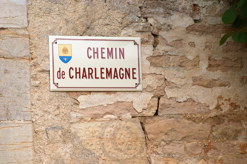 street sign chemin de charlemagne aloxe-corton cote de beaune burgundy france