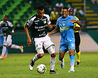 PALMIRA - COLOMBIA, 20-07-2019: Christian Rivera del Cali disputa el balón con Harrison Mojica de Jaguares durante partido entre Deportivo Cali y Jaguares de Córdoba por la fecha 2 de la Liga Águila II 2019 jugado en el estadio Deportivo Cali de la ciudad de Palmira. / Christian Rivera of Cali vies for the ball with Harrison Mojica of Jaguares during match between Deportivo Cali and Jaguares de Cordoba for the date 2 as part Aguila League II 2019 played at Deportivo Cali stadium in Palmira city. Photo: VizzorImage / Nelson Rios / Cont