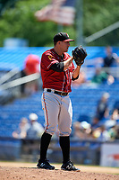 Altoona Curve relief pitcher Tate Scioneaux (18) looks in for the sign during a game against the Binghamton Rumble Ponies on June 14, 2018 at NYSEG Stadium in Binghamton, New York.  Altoona defeated Binghamton 9-2.  (Mike Janes/Four Seam Images)