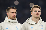 Aaron Ramsey and Matthijs De Ligt of Juventus pictured during the line up before the UEFA Champions League match at Juventus Stadium, Turin. Picture date: 26th November 2019. Picture credit should read: Jonathan Moscrop/Sportimage