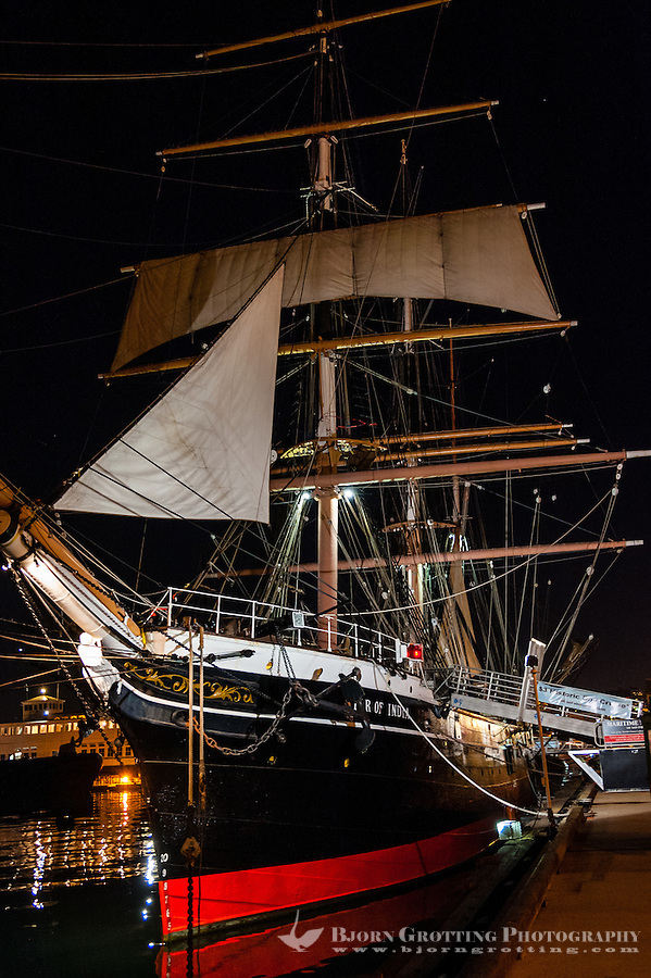 United States, California, San Diego. The Marina district in Downtown San Diego. The Maritime Museum of San Diego. Star of India, an 1863 merchant bark.