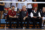 10 September 2015: Stanford head coach John Dunning with assistant coaches Jason Mansfield (left) and Denise Corlett (right). The University of North Carolina Tar Heels hosted the Stanford University Cardinal at Carmichael Arena in Chapel Hill, NC in a 2015 NCAA Division I Women's Volleyball contest. North Carolina won the match 25-17, 27-25, 25-22.