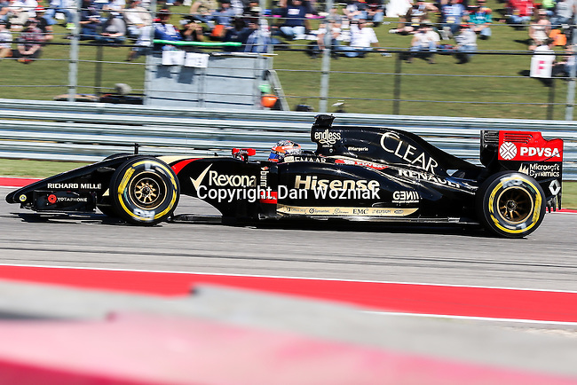 ROMAIN GROSJEAN (8) driver of the Lotus F1 Team car in action during the qualifying session before the Formula 1 United States Grand Prix race at the Circuit of the Americas race track in Austin,Texas.