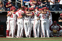 Arkansas Razorbacks before Game 2 of the NCAA College World Series against the Florida State Seminoles on June 15, 2019 at TD Ameritrade Park in Omaha, Nebraska. Florida State defeated Arkansas 1-0. (Andrew Woolley/Four Seam Images)