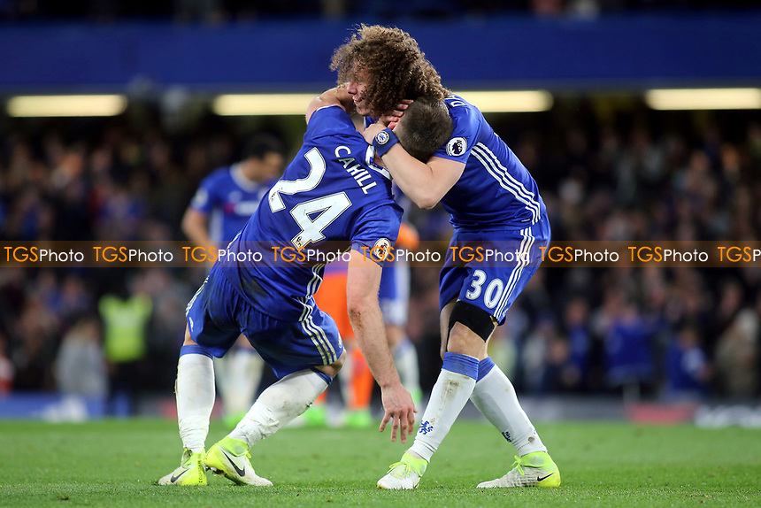 Chelsea's Gary Cahill and David Luiz celebrate their victory at the final whistle during Chelsea vs Manchester City, Premier League Football at Stamford Bridge on 5th April 2017