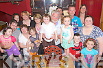 Members of the Sheehan family and friends along with Tralee Bay Angling Club pictured at the awards night in McElligot's Bar, Ardfert,  following a Charity Fishing competition in The Spa in aid of Temple Street Children's University Hospital and Sarah Sheehan, standing centre who is a patient there. Standing l/r Emily & Seamus Nelligan, Louise McCarthy, Caroline McCarthy, Ann Kelly, Daniel McCarthy, Joan Sheehan, Sarah Sheehan, Matt Hopper, John Sheehan, Sophie & Martin McGowan, Cian McCarthy, Susan Farrelly, Norma & Ciara Sheehan.