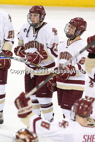 Cam Atkinson (BC - 13), Steven Whitney (BC - 21) - The Boston College Eagles defeated the visiting University of Massachusetts-Lowell River Hawks 5-3 (EN) on Saturday, January 22, 2011, at Conte Forum in Chestnut Hill, Massachusetts.