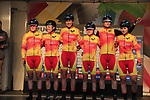 Team Spain at sign on for the start of the Women Elite Road Race of the UCI World Championships 2019 running 149.4km from Bradford to Harrogate, England. 28th September 2019.<br /> Picture: Eoin Clarke | Cyclefile<br /> <br /> All photos usage must carry mandatory copyright credit (© Cyclefile | Eoin Clarke)