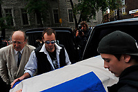 Montreal  (QC) CANADA - Oct 3 2009 - Family and PQ members gather to pay tribute filmmaker and separatist figure Pierre Falardeau, Oct 3rd 2009 at Saint-Jean-Baptiste church in Montreal. in picture : his son (with glasses)