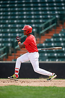 Willy Fana (10) follows through on a swing during the Dominican Prospect League Elite Underclass International Series, powered by Baseball Factory, on July 21, 2018 at Schaumburg Boomers Stadium in Schaumburg, Illinois.  (Mike Janes/Four Seam Images)