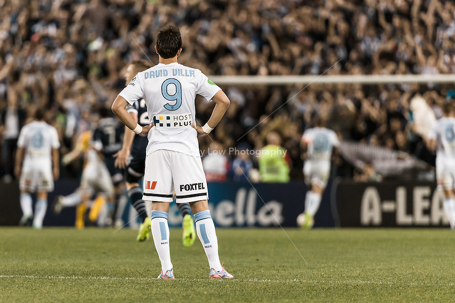 MELBOURNE 25 Oct 2014 – Spanish player David VILLA of Melbourne City watches the action in the round 3 match between Melbourne Victory and Melbourne City in the Australian Hyundai A-League 2014-15 season at Etihad Stadium, Melbourne, Australia.