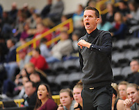 NWA Democrat-Gazette/ANDY SHUPE<br /> Gravette coach Will Pittman directs his players against Pottsville Wednesday, Feb. 24, 2016, during the second half of play in the 4A North Regional Tournament in Tiger Arena in Prairie Grove. Visit nwadg.com/photos to see more photographs from the game.