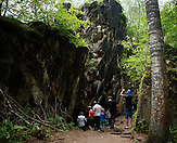 Touristen auf dem Weg in den Bunker hinein. / Wolfsschanze, Wolf's Lair