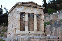 DELPHI, GREECE - APRIL 12 : A general view of the Treasury of the Athenians, on April 12, 2007 in the Sanctuary of Apollo, Delphi, Greece. The Treasury of the Athenians was built circa 500BC and has been completely restored in the Doric order at the beginning of the 20th century. The building has 2 Doric columns and 27 metopes depicting the Labours of Herakles and Theseus as well as the Amazonomachy. (Photo by Manuel Cohen)