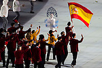 Olympic team of Spain during the parade of nations at the Opening ceremony of the 2014 Sochi Olympic Winter Games at Fisht Olympic Stadium on February 7, 2014 in Sochi, Russia. Photo by Victor Fraile / Power Sport Images