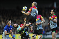 Mike Brown of Harlequins issue under the high ball as Luke Wallace of Harlequins gets out of the way during the Premiership Rugby match between Harlequins and Saracens - 09/01/2016 - Twickenham Stoop, London<br /> Mandatory Credit: Rob Munro/Stewart Communications