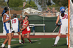 Placentia, CA 05/14/10 - Shaina Denny (Los Alamitos # 19), Natalie Richards (Los Alamitos # 30) and Julia Denney (Redondo #11) in action during the 2010 CIF Girls Lacrosse Championship game between Redondo Union and Los Alamitos, Los Alamitos defeated Redondo 24-7.