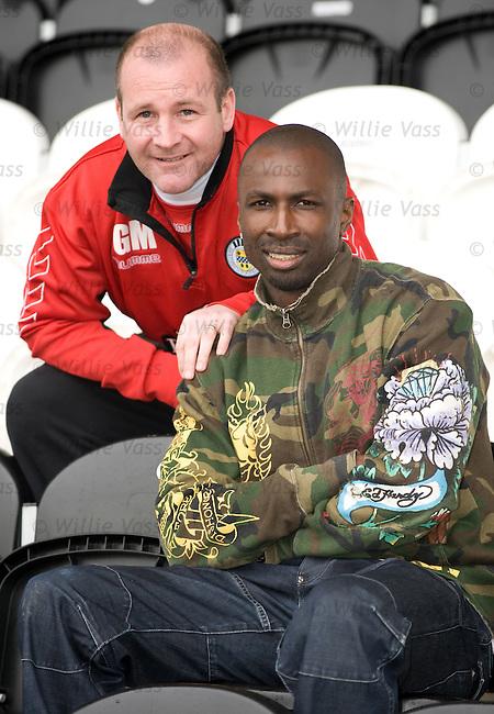 Gus Macpherson with new St Mirren signing Mo Camara