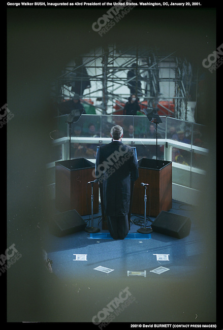 George W. Bush inaugurated as the 43rd President of the United States.  Washington, D.C. January 20, 2001.