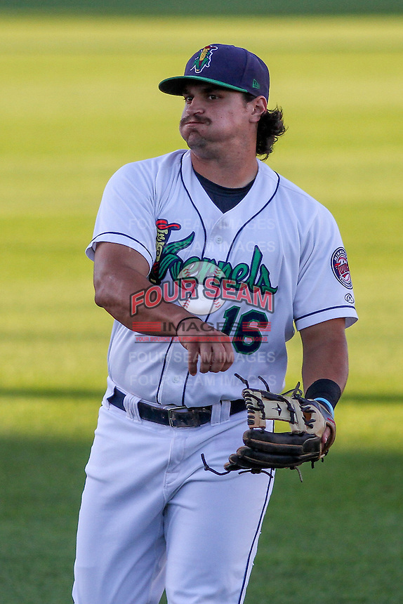 Cedar Rapids Kernels third baseman T.J. White (16) warms up prior to game five of the Midwest League Championship Series against the West Michigan Whitecaps on September 21st, 2015 at Perfect Game Field at Veterans Memorial Stadium in Cedar Rapids, Iowa.  West Michigan defeated Cedar Rapids 3-2 to win the Midwest League Championship. (Brad Krause/Four Seam Images)