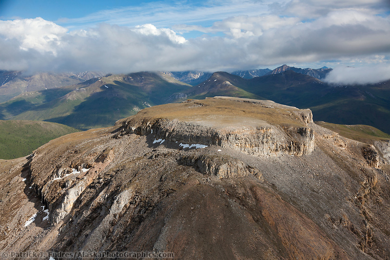 Aerial of the Brooks Range mountains, Arctic, Alaska.
