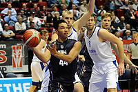GRONINGEN - Basketbal, Donar - Vitautas, Champions League,  seizoen 2017-2018, 19-09-2017,  Donar speler Arvin Slagter met Vytautas  speler  Eigirdas Zukauskas