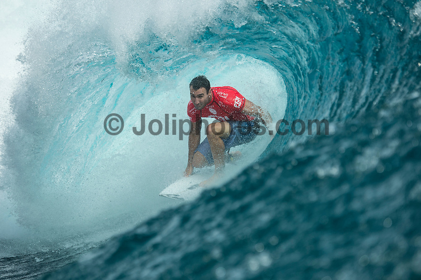 Namotu Island Resort, Namotu, Fiji. (Tuesday June 3 2014) Joel Parkinson (AUS) – The 2014 Fiji Pro was called on this morning with the swell running in the 3' plus range. The start was delayed till 10.30 am because of the 9.30 am high tide and then they ran the whole of Round 1. Photo: joliphotos.com, 2014) – The 2014 Fiji Pro was called on this morning with the swell running in the 3' plus range. The start was delayed till 10.30 am because of the 9.30 am high tide and then they ran the whole of Round 1. Photo: joliphotos.com