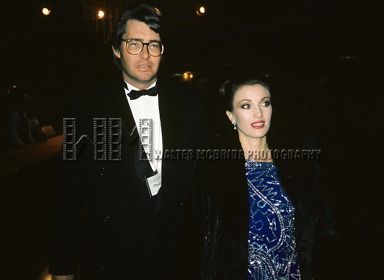 Jane Seymour pictured with her husband David Flynn in New York City in 1984.