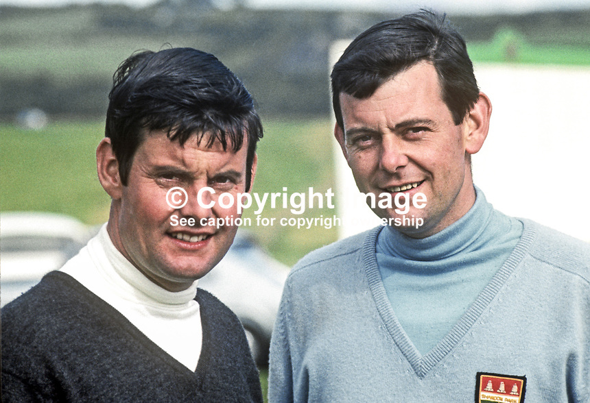 Top N Ireland amateur golfers, Brian Hoey, left, and brother, Michael Hoey, members, Shandon Park, Belfast.  Brian is the father of professional golfer, Michael Hoey, who turned pro after a successful amateur career. 196907000188a.<br /> <br /> Copyright Image from Victor Patterson,<br /> 54 Dorchester Park, Belfast, UK, BT9 6RJ<br /> <br /> t1: +44 28 90661296<br /> t2: +44 28 90022446<br /> m: +44 7802 353836<br /> <br /> e1: victorpatterson@me.com<br /> e2: victorpatterson@gmail.com<br /> <br /> For my Terms and Conditions of Use go to<br /> www.victorpatterson.com