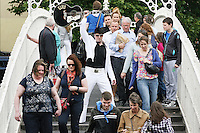 "NO REPRO FEE. 11/8/2010. Elvis Presley Story. Irelands foremost Elvis performer Kevin Doyle is pictured in his Elvis costume rehearsing on the Ha Penny Bridge Dublin in preparation for his show "" Kevin Doyle Sings the Elvis Presley Story"" this Sunday the 15th of August at the Olympia Theatre. Tickets are from 25.50 including booking fee on sale now. Picture James Horan/Collins Photosemail - info@collinsphotos.com"