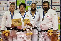 Gold medalist Kokoro Kageura (2nd L) of Japan, silver medalist Stephan Hegyi (L) of Austria with bronze medalists Adam Okruashvili (R) of Georgia and Roy Meyer (2nd R) of Netherlands celebrate their victory during an awards ceremony after the Men +100 kg category at the Judo Grand Prix Budapest 2018 international judo tournament held in Budapest, Hungary on Aug. 12, 2018. ATTILA VOLGYI
