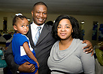 WATERBURY, CT-092317JS11--Jason Ward with his wife Kristine Ward and daughter Jasmin Ward, 2,  at the Refuge Church of Christ's 70th anniversary banquet held at the church in Waterbury. <br />  Jim Shannon Republican-American