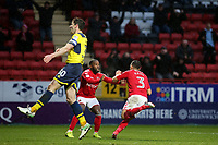 Ahmed Kashi celebrates scoring Charlton Athletic's opening goal with Mark Marshall during Charlton Athletic vs Oxford United, Sky Bet EFL League 1 Football at The Valley on 3rd February 2018