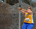 SIOUX FALLS, SD - MAY 2:  Amy Paulzine from South Dakota State University throws the hammer Friday afternoon at the Howard Wood Dakota Relays. (Photo by Dave Eggen/Inertia)