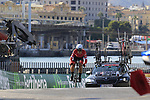 Fabio Felline (ITA) Trek-Segafredo during Stage 1 of the La Vuelta 2018, an individual time trial of 8km running around Malaga city centre, Spain. 25th August 2018.<br /> Picture: Eoin Clarke | Cyclefile<br /> <br /> <br /> All photos usage must carry mandatory copyright credit (© Cyclefile | Eoin Clarke)