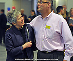 Democratic candidate for U.S. Congress Sharon Cissna, left, is congratulated by fellow Democrat Andy Josephson Tuesday, Aug. 29, 2012 in Anchorage, Alaska.  Cissna will face incumbent Republican Don Young in November.  (AP Photo / Michael Dinneen)