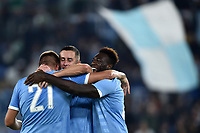Adam Marusic of SS Lazio (C) celebrates with Sergej Milinkovic-Savic  and Felipe Caicedo (R) after scoring the goal of 2-0 for his side <br /> Roma 22-9-2019 Stadio Olimpico <br /> Football Serie A 2019/2020 <br /> SS Lazio - Parma Calcio <br /> Foto Andrea Staccioli / Insidefoto