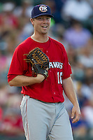 Oklahoma City RedHawks pitcher Wade LeBlanc (16) smiles during the Pacific Coast League baseball game against the Round Rock Express on July 9, 2013 at the Dell Diamond in Round Rock, Texas. Round Rock defeated Oklahoma City 11-8. (Andrew Woolley/Four Seam Images)