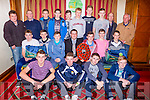 The South Kerry u16 team  that won the County A Championship who were honoured in the Plaza Hotel on Friday night front row l-r: John Doyle, Chris Creedon, David Cronin, Shane Kennedy. Middle row: Daniel Kearney, Liam Twomey, Sean Casey, Eoin Casey Chairman, Micheal McCarthy, Donal o'sullivan, Jack foley. Back row: flor O'Brien, Mikey foley. Ciara Kennedy, Michael lenihan, Dylan Dermody, Gearoid Fennessy, Griffin wharton, Daniel Casey, jimmy Kennedy and Donal McCarthy