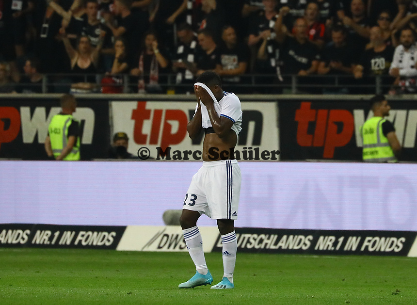 Lionel Carole (Racing Club de Strasbourg Alsace) frustriert - 29.08.2019: Eintracht Frankfurt vs. Racing Straßburg, UEFA Europa League, Qualifikation, Commerzbank Arena<br /> DISCLAIMER: DFL regulations prohibit any use of photographs as image sequences and/or quasi-video.