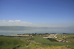 Golan Heights. a view of the Sea of Galilee and Kibbutz Ein Gev from the foothill of Mount Susita