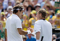 30-6-08, England, Wimbledon, Tennis, Hewitt(R) congretulates Federer with his victory