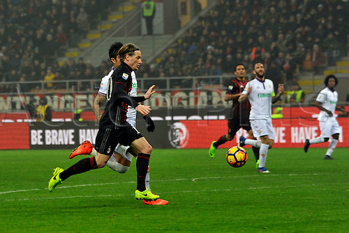 February 19th 2017, San Siro, Milan, Italy; Ignazio Abate of Milan in action during  Serie A football, AC Milan versus Fiorentina;