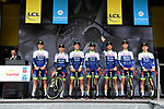 Wanty-Gobert Cycling Team on stage at the team presentation before Stage 1 of the Criterium du Dauphine 2019, running 142km from Aurillac to Jussac, France. 9th June 2019<br /> Picture: ASO/Alex Broadway | Cyclefile<br /> All photos usage must carry mandatory copyright credit (© Cyclefile | ASO/Alex Broadway)