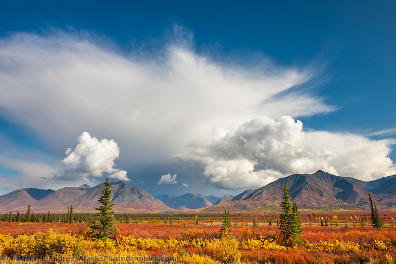 Dramatic clouds over the Alaska Range mountains in broad pass, Interior, Alaska.