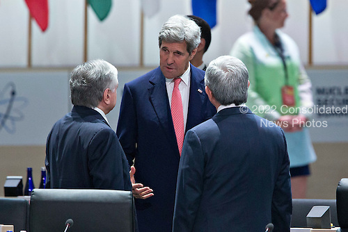 """United States Secretary of State John Kerry, center, speaks to attendees during an opening plenary entitled """"National Actions to Enhance Nuclear Security"""" at the Nuclear Security Summit in Washington, D.C., U.S., on Friday, April 1, 2016. After a spate of terrorist attacks from Europe to Africa, U.S. President Barack Obama is rallying international support during the summit for an effort to keep Islamic State and similar groups from obtaining nuclear material and other weapons of mass destruction. <br /> Credit: Andrew Harrer / Pool via CNP"""