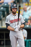 Nashville Sounds first baseman Ike Davis (21) during the Pacific Coast League baseball game against the Oklahoma City Dodgers on June 12, 2015 at Chickasaw Bricktown Ballpark in Oklahoma City, Oklahoma. The Dodgers defeated the Sounds 11-7. (Andrew Woolley/Four Seam Images)